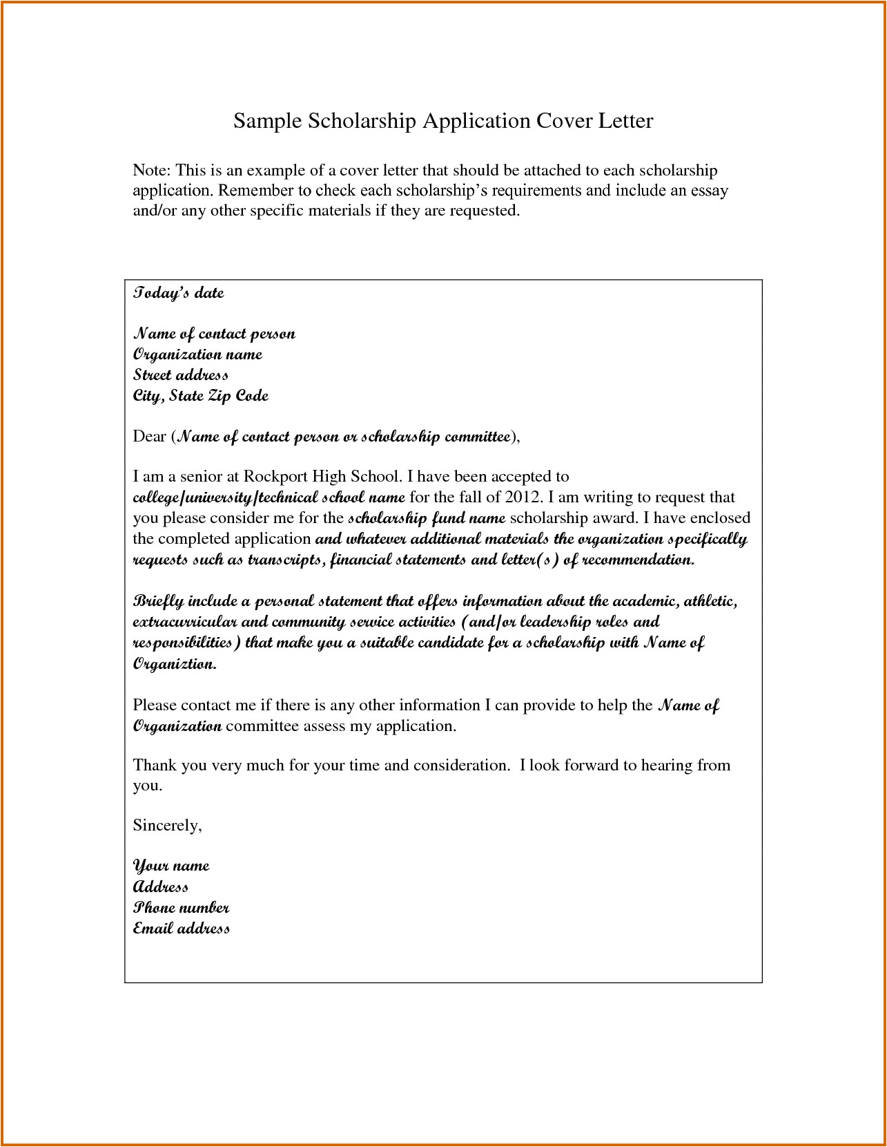 How to Make A Cover Letter for A Scholarship Application 5 How to Write A Scholarship Cover Letter Lease Template