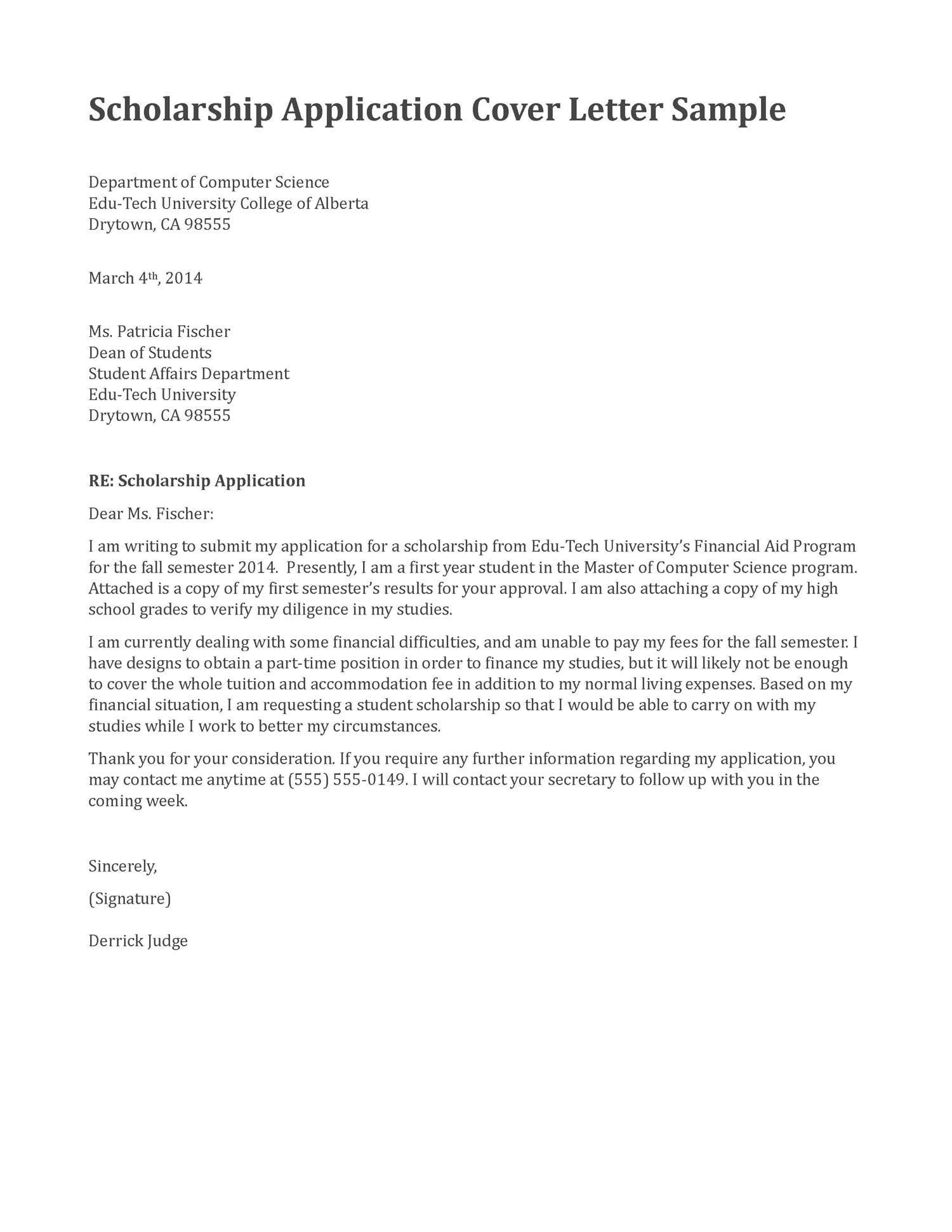 scholarship application cover letter sample