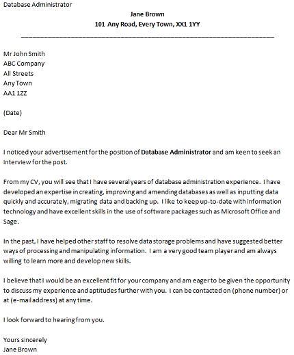 cover letter for a database administrator job