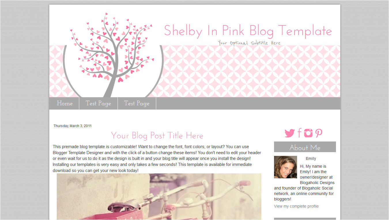 pink heart blog template