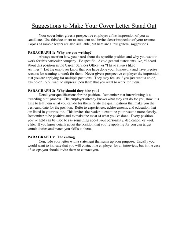 How to Make My Cover Letter Stand Out How to Make Your Cover Letter Stand Out Project Scope