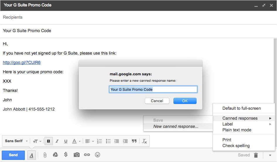 create gmail templates