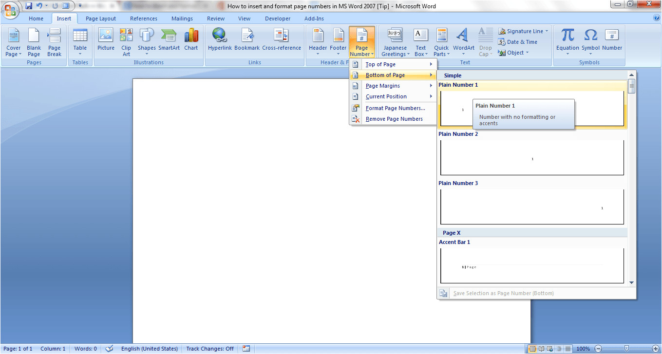how to insert and format page numbers in ms word 2007 tip