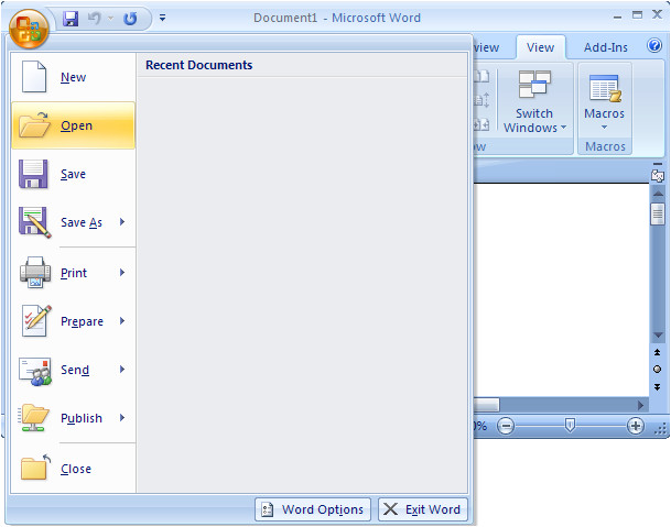 How to Open A Template In Word 2007 Ms Word 2007 Open A Template