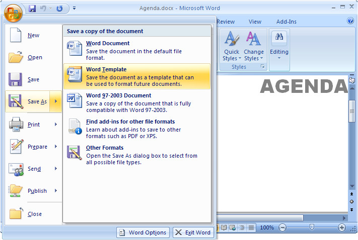 How to Save A Template In Word Ms Word 2007 Create A Template From An Existing Document