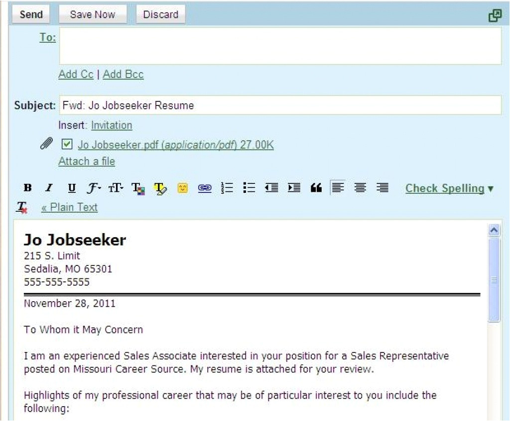 How to Send Resume and Cover Letter by Email Sample Email Letter Etiquette with attachments Perfect