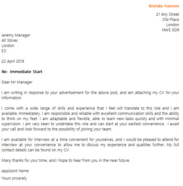 cover letter example for an immediate start job
