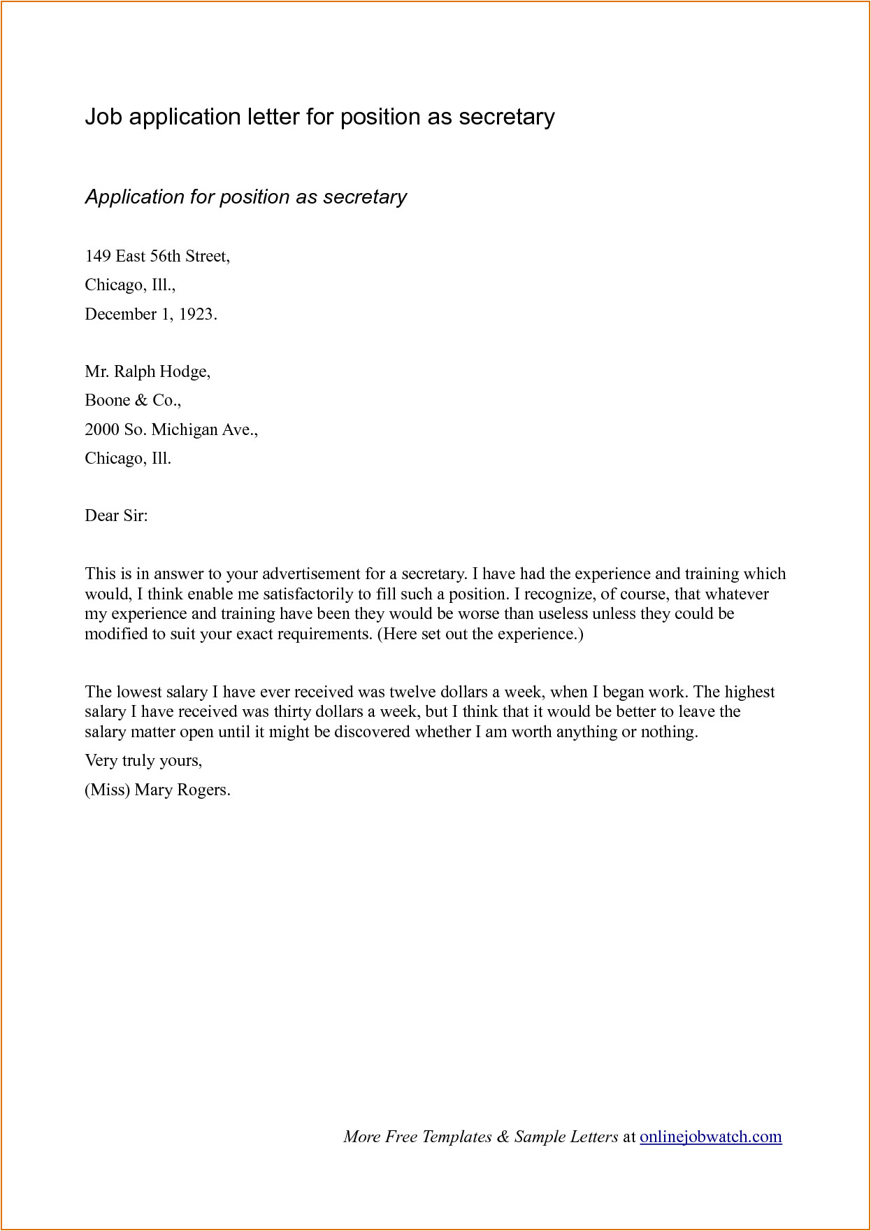 How to Type A Cover Letter for A Job Application Sample Cover Letter format for Job Application