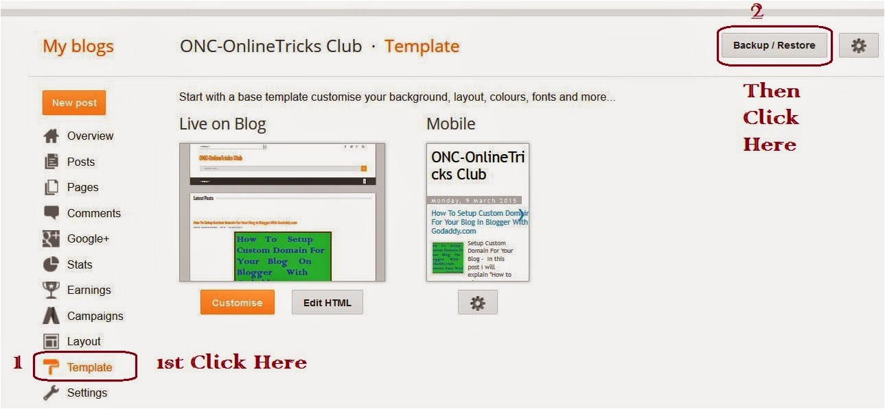 how to upload template in blogger blog