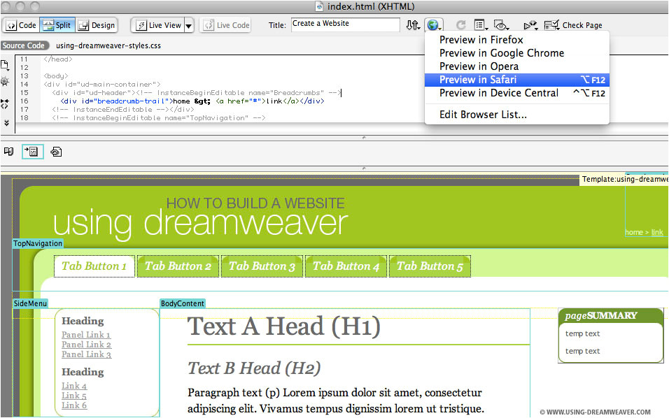 How to Use Templates In Dreamweaver Dreamweaver Template