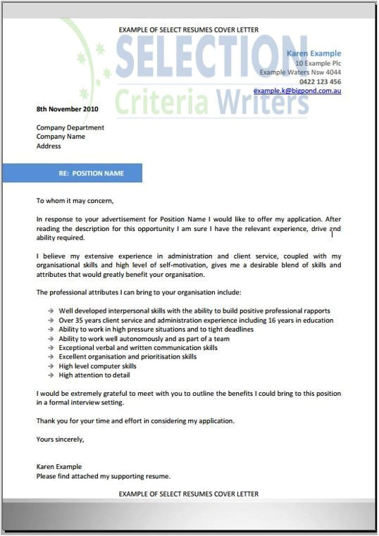How to Write A Cover Letter Addressing Selection Criteria 9 Best Selection Criteria Writers Images On Pinterest