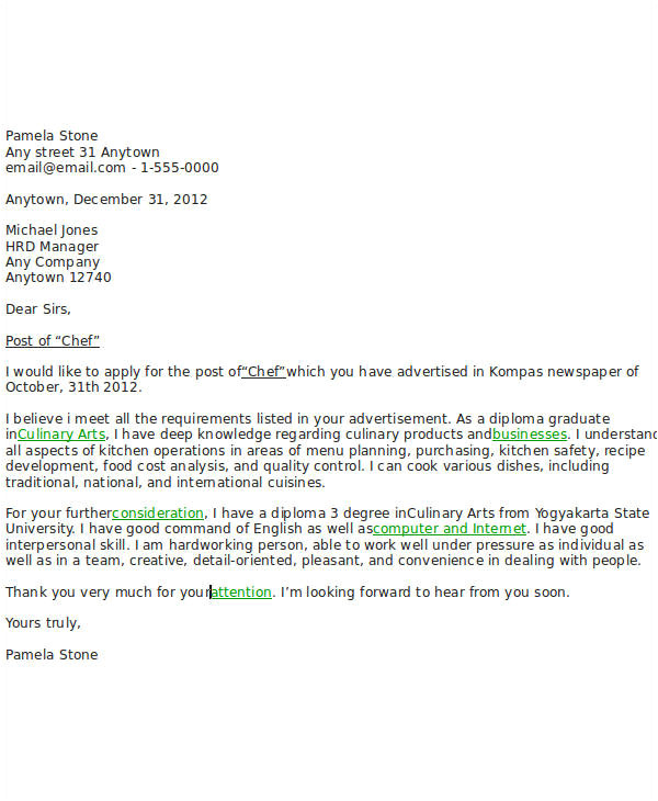 sample job application letter for chef
