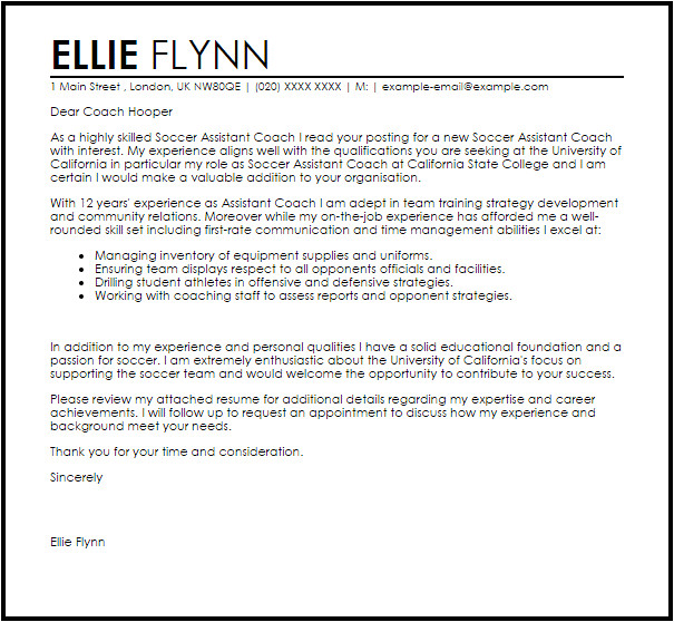 How to Write A Cover Letter for A Coaching Job assistant Coach Cover Letter Sample Cover Letter