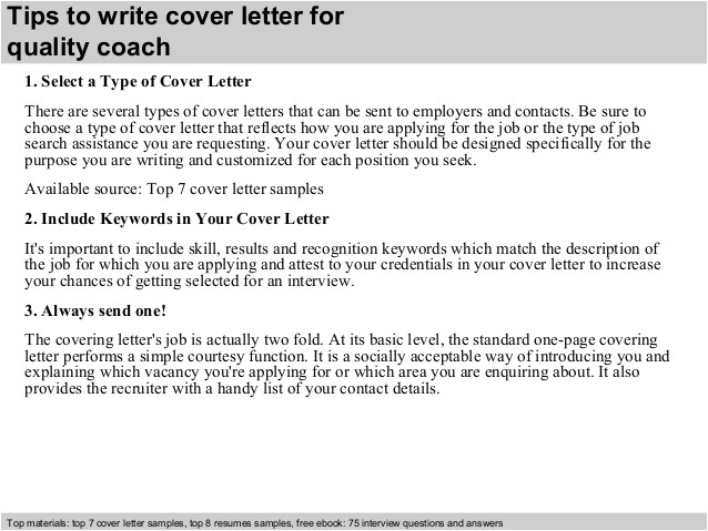 How to Write A Cover Letter for A Coaching Job Quality Coach Cover Letter