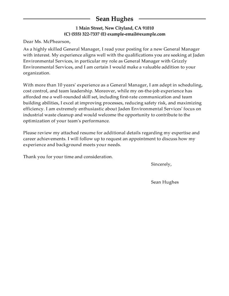 How to Write A Cover Letter for A Leadership Position Best General Manager Cover Letter Examples Livecareer