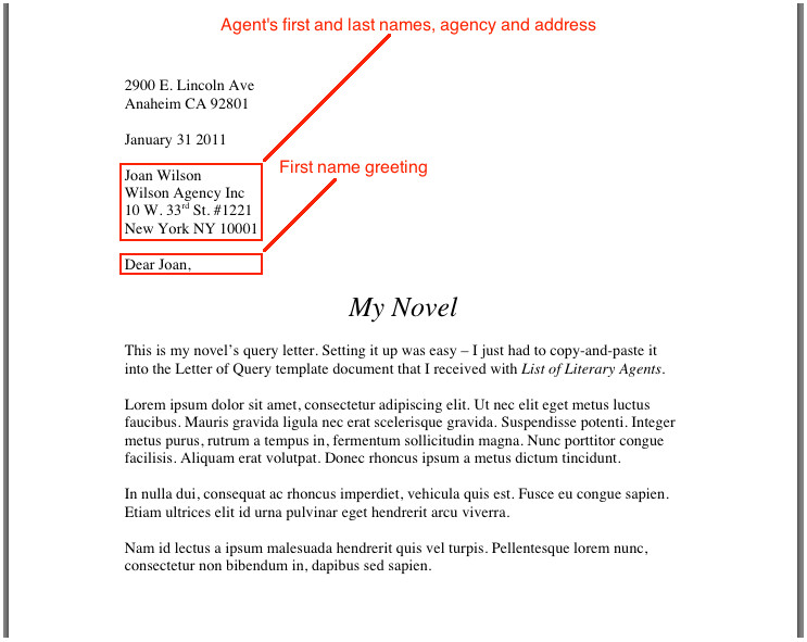 query letter template 1232