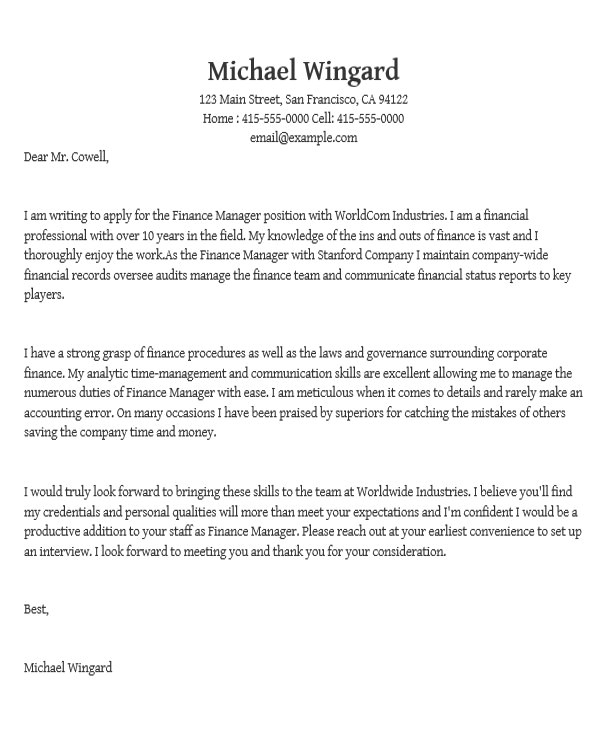 How to Write A Cover Letter for A Management Position Application Letter I Look forward to