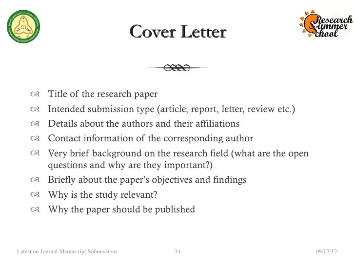 how to write cover letter journal submission