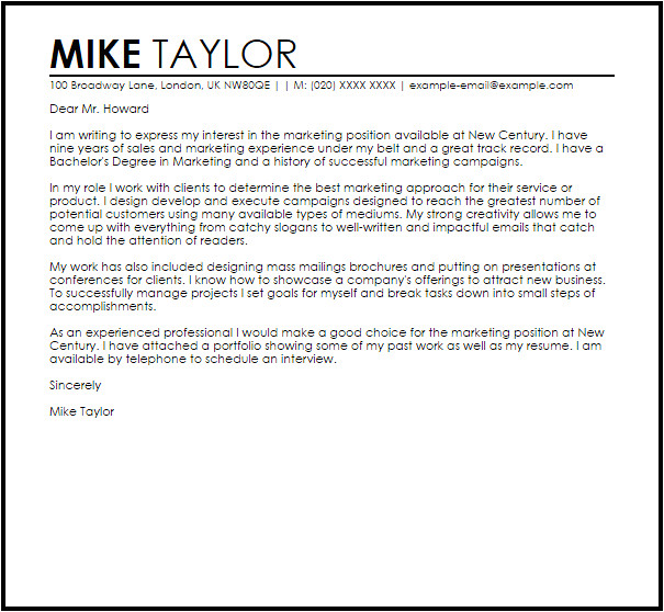 sample cover letter for a marketing job