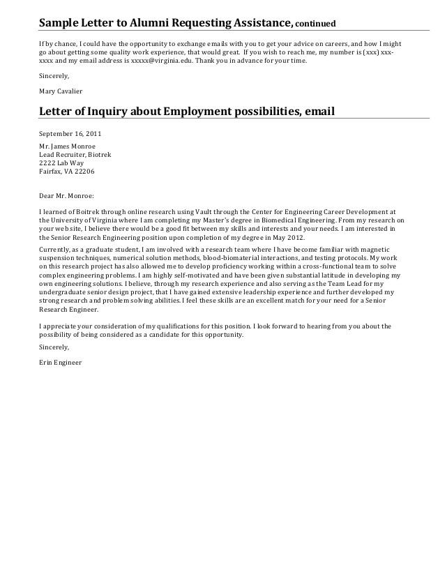 letter requesting employment opportunities