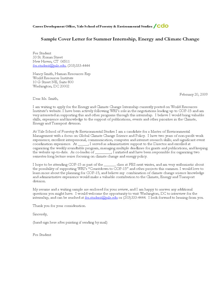 free sample cover letter for summer internship energy and climate change
