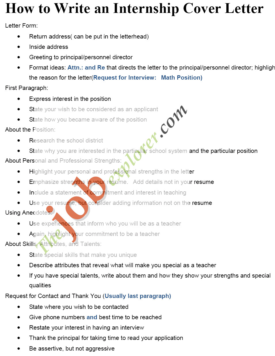 How to Write A Cover Letter for A Summer Internship Sample Internship Cover Letters
