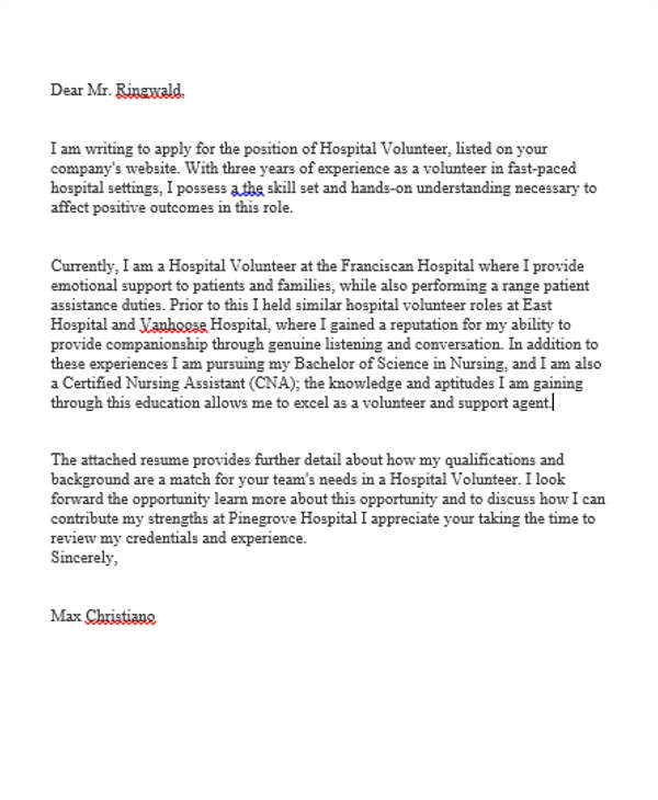 sample job application letter for volunteer