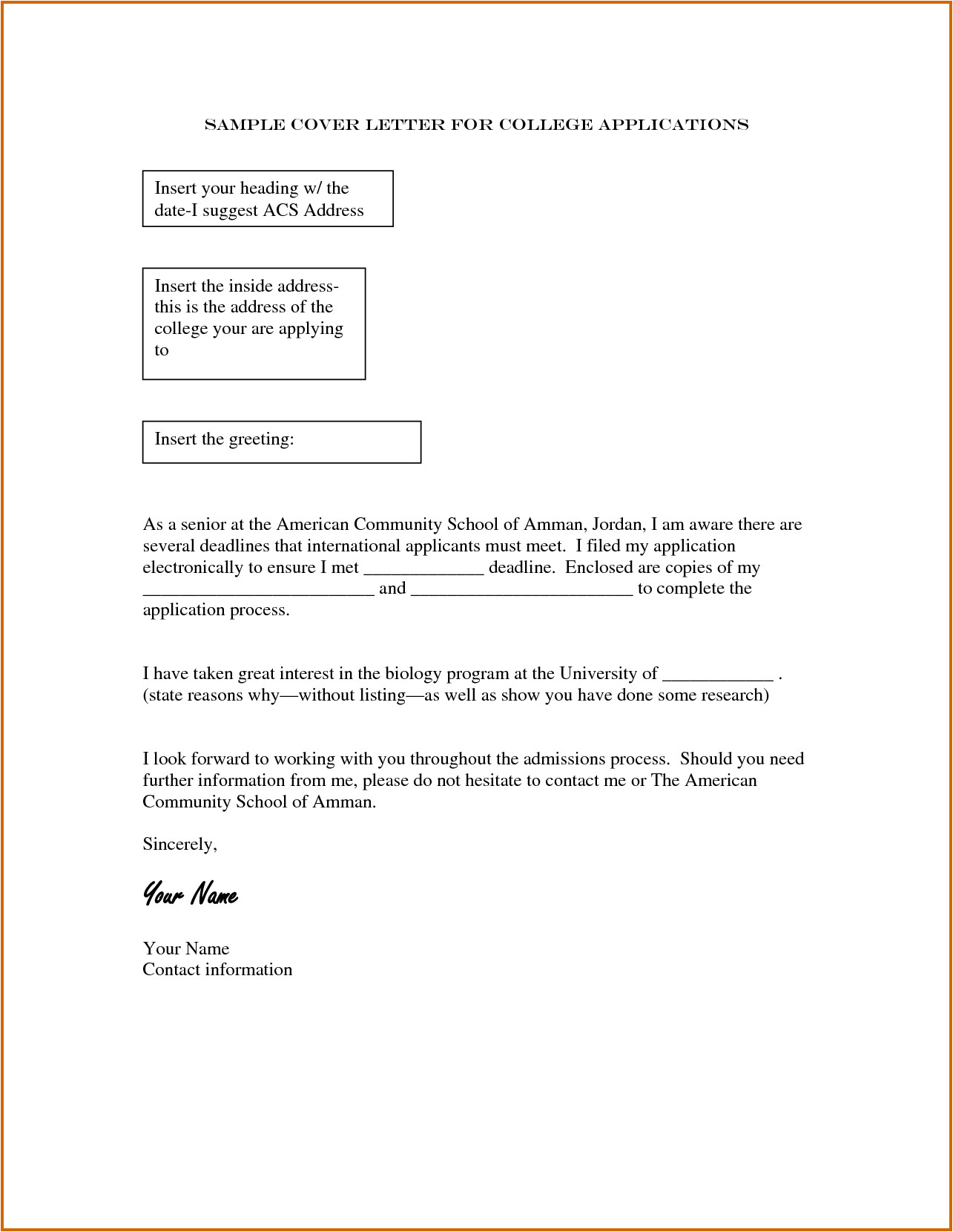 14 how to write college application letter