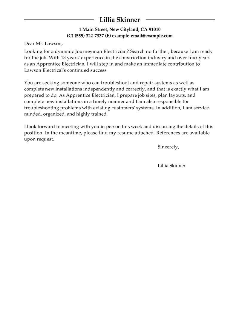 apprentice electrician cover letter sample