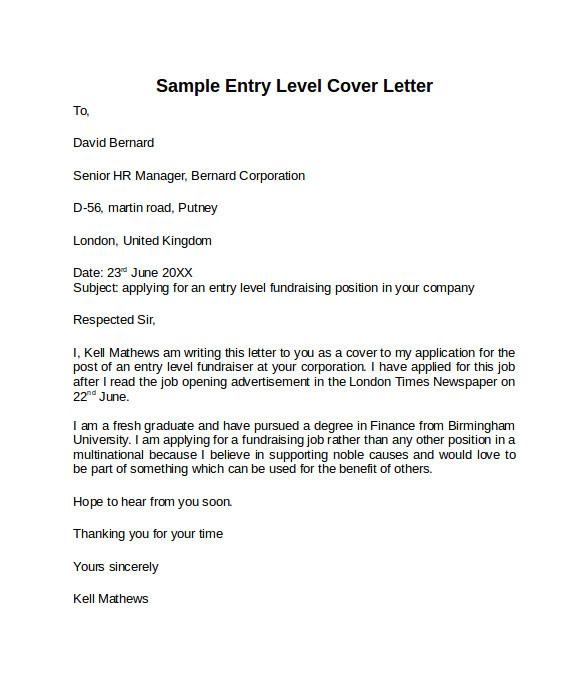 How to Write A Cover Letter for Entry Level Position 10 Entry Level Cover Letter Templates Samples Examples