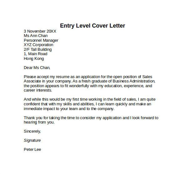 sample entry level cover letter template