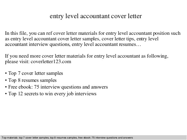 How to Write A Cover Letter for Entry Level Position Entry Level Accountant Cover Letter