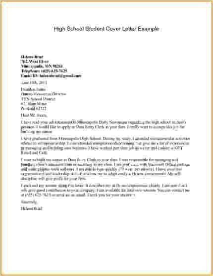 9 highschool cover letter