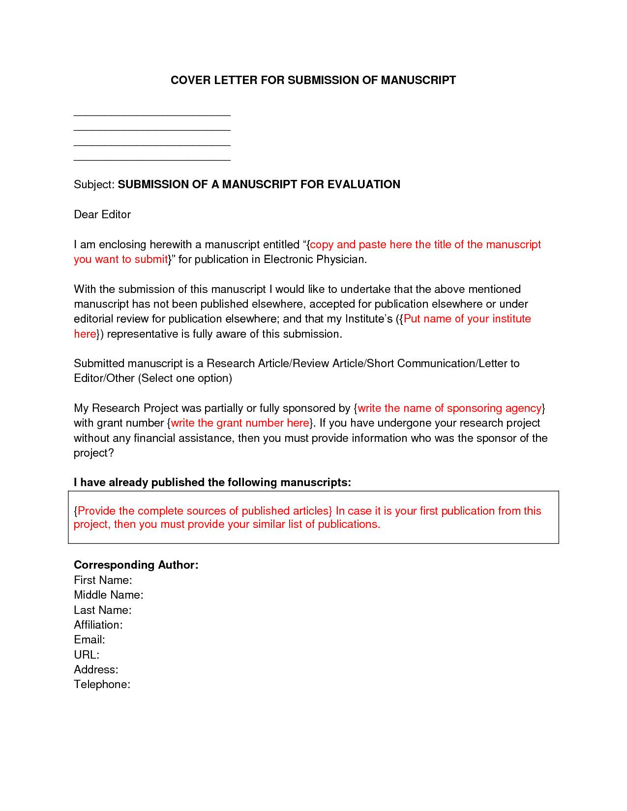 manuscript cover letter sample
