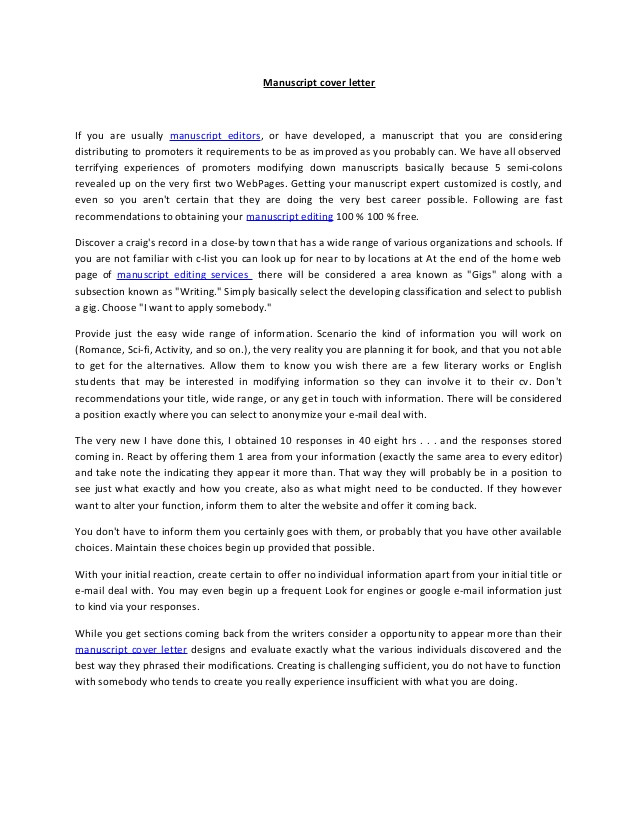 what is cover letter in manuscript