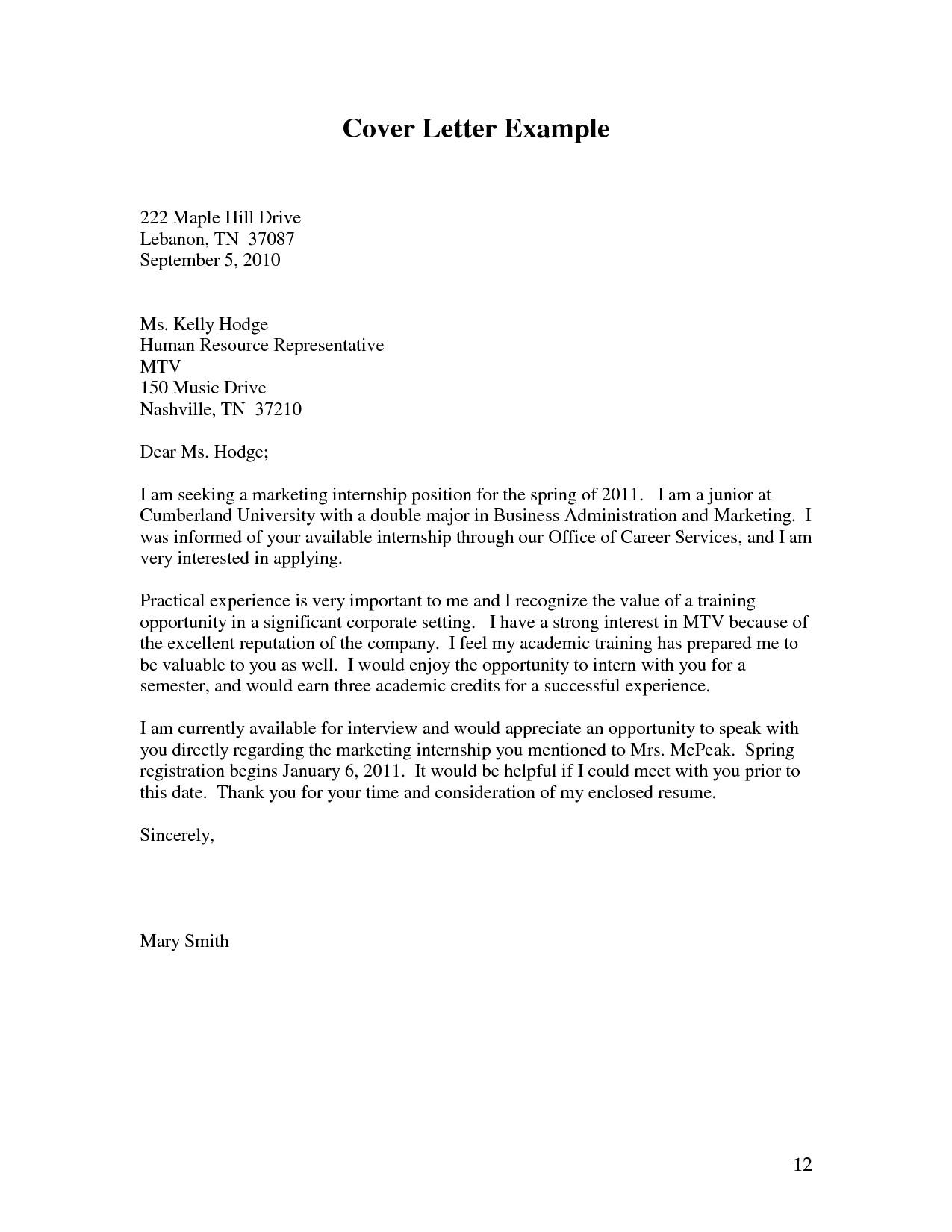 general cover letter for internship