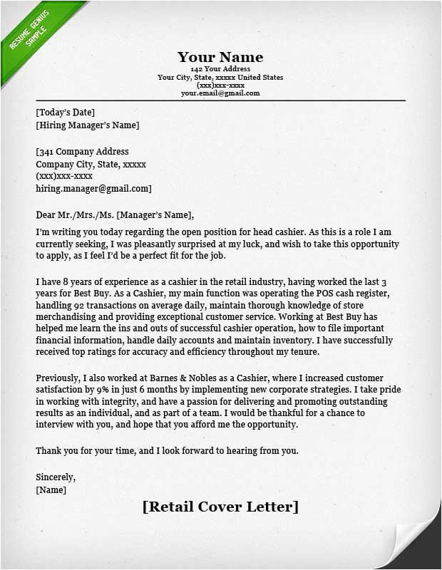 How to Write A Cover Letter for Retail assistant Retail Cover Letter Samples Resume Genius