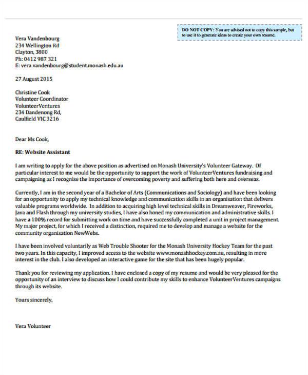 sample job application letter for volunteer