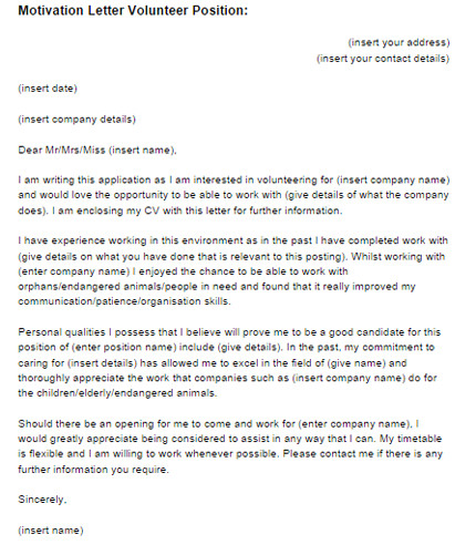 motivation letter volunteer position example