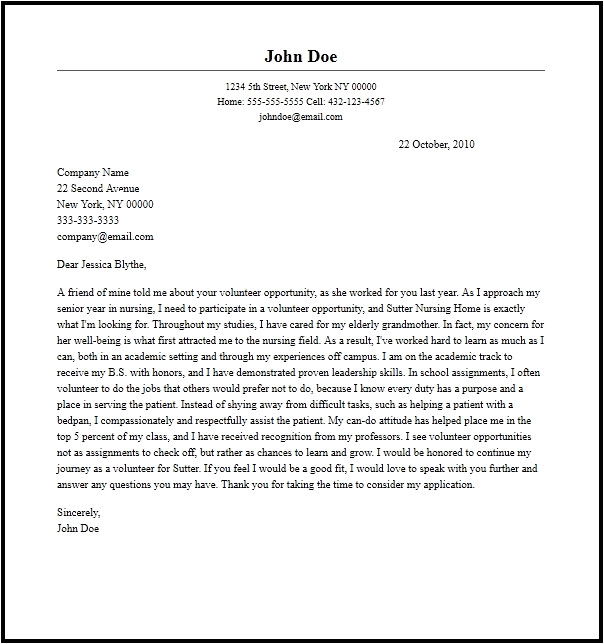 How to Write A Cover Letter for Volunteering Volunteer Letter All About Letter Examples