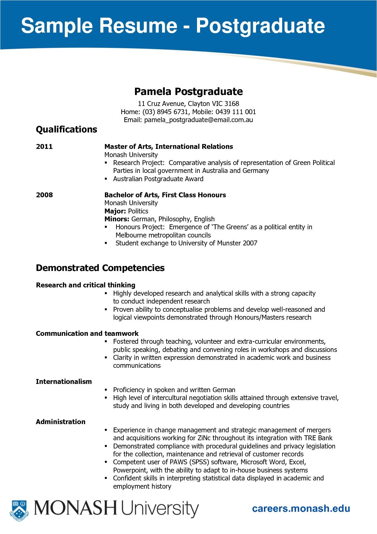 monash resume