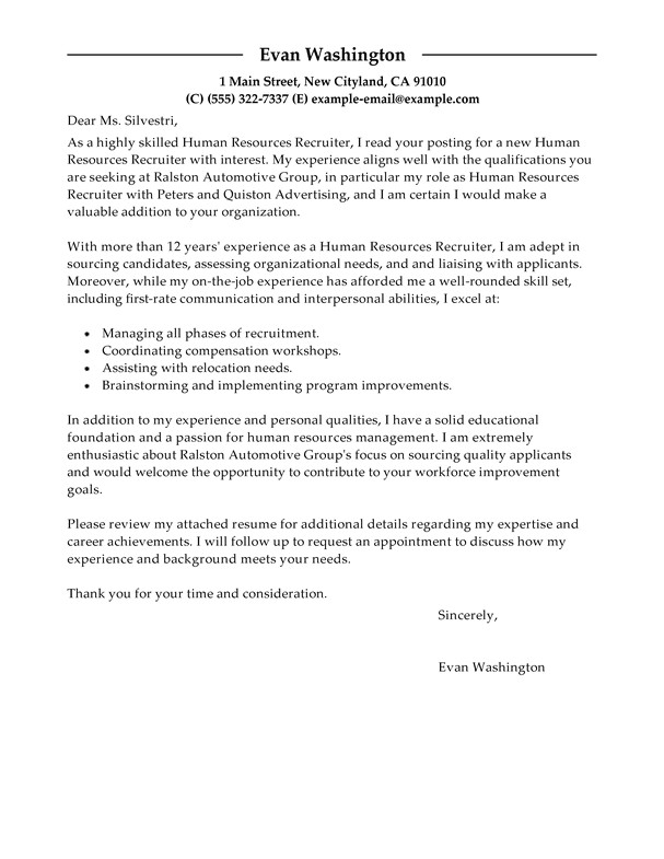 How to Write A Cover Letter to A Recruiter Best Recruiting and Employment Cover Letter Examples