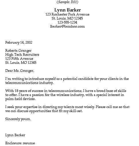cover letter to recruiter