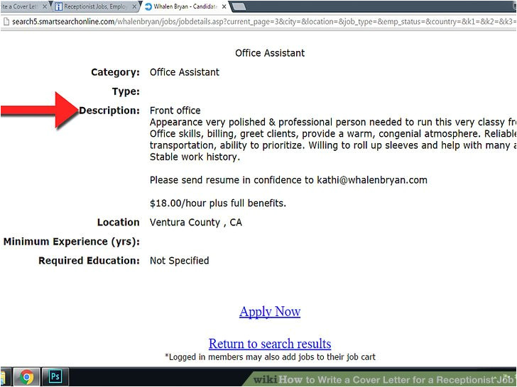 write a cover letter for a receptionist job