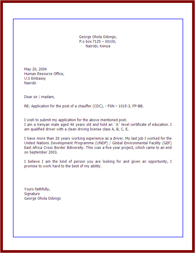 how to write application letter for job
