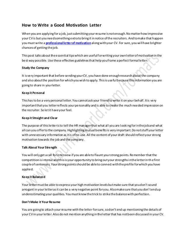 How to Write A Good Covering Letter for A Job How to Write A Good Motivation Letter