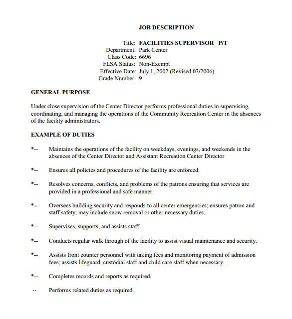 How to Write A Job Description Template 10 Supervisor Job Description Templates Free Sample