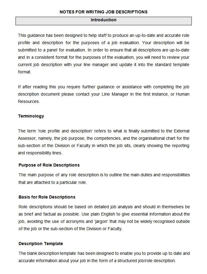 writing job description template