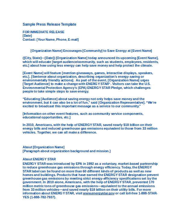 How to Write A Press Release for An event Template 19 Press Release Templates Free Sample Example format