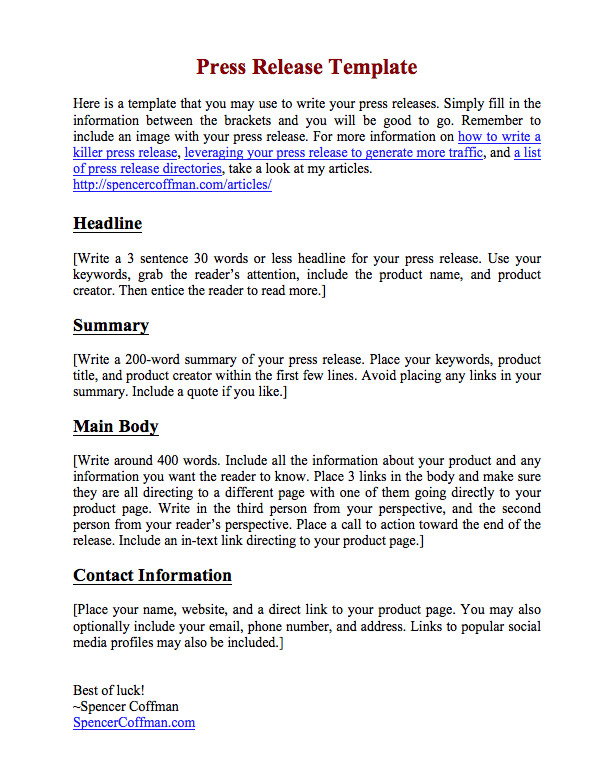 How to Write A Press Release for An event Template Free Press Release Template for Your Press Releases